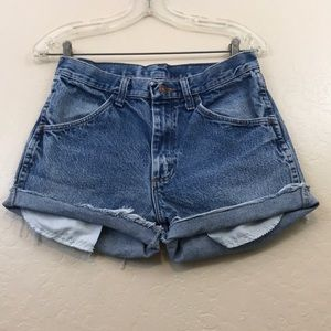 Vintage denim high Waisted Jeans Shorts Distressed